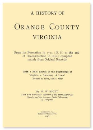 A History of Orange County, Virginia
